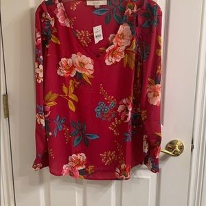 Loft floral top new with tags hot pink